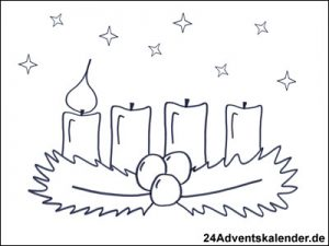 Vorschau - Ausmalvorlage - Adventskranz mit einer brennenden Kerze.