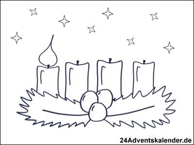 Vorschau Malvorlage Kranz im Advent mit 1 brennenden Kerze.