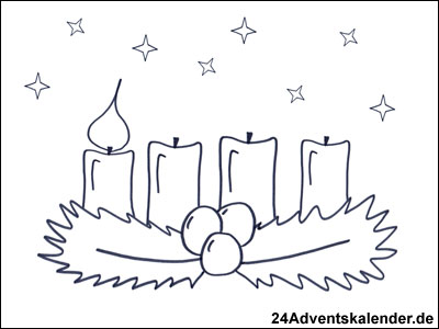 malvorlagen mit adventskranz 24 adventskalender. Black Bedroom Furniture Sets. Home Design Ideas