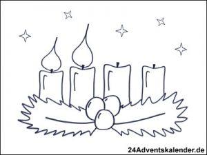 Vorschau - Ausmalvorlage - Adventskranz mit zwei brennenden Kerzen.