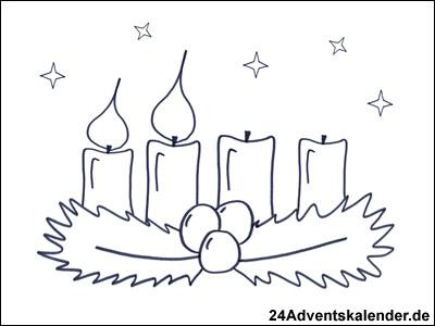 Vorschau Malvorlage Kranz im Advent mit 2 brennenden Kerzen.