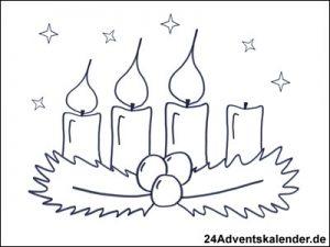 Vorschau - Ausmalvorlage - Adventskranz mit drei brennenden Kerzen.