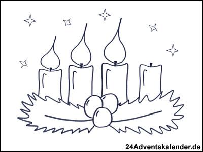 Vorschau Malvorlage Kranz im Advent mit 3 brennenden Kerzen.
