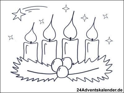Vorschau Malvorlage Kranz im Advent mit 4 brennenden Kerzen.
