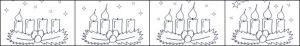 Bild - Ausmalvorlage - Adventskranz mit vier Kerzen.