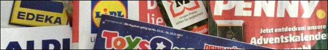 Bild - Logos - Prospekt von Edeka, Aldi, Lidl, ToysRus, Müller und penny.