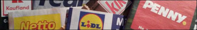 Bild - Logos - Prospekte von Kaufland, Netto, real, Lidl, KiK und penny.