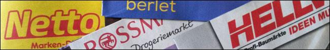 Bild - Logos - Prospekte von Netto, Rossmann, Berlet und Hellweg.