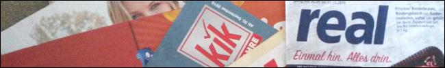 Bild - Logos - Prospekte von Kik und Real.