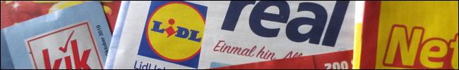 Logo auf Prospekt von KiK, Lidl, real und netto
