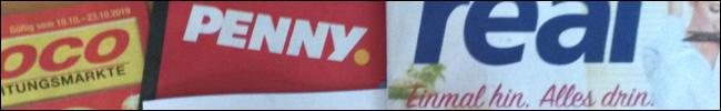 Bild - Logos - Prospekte von Poco, Penny und real.