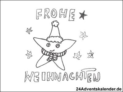 Malvorlage Frohe Weihnachten Stern 24 Adventskalender