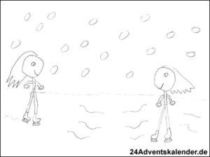 Vorschaubild - Ausmalvorlage - Schlittschuhlaufen