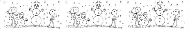Bild - Ausmalvorlage - Schneespaß