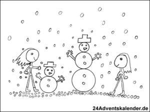 Vorschaubild - Ausmalvorlage - Schneespaß