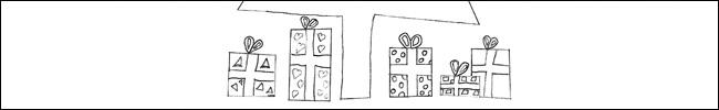Bild - Ausmalvorlage - Weihnachtsbaum mit Geschenken