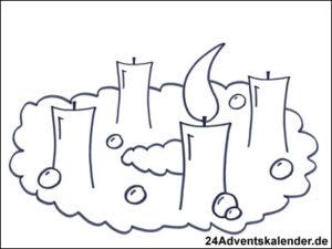 Vorschaubild Malvorlage Adventskranz 02 mit einer Kerze