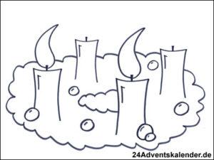 Vorschaubild Malvorlage Adventskranz 02 mit zwei Kerzen