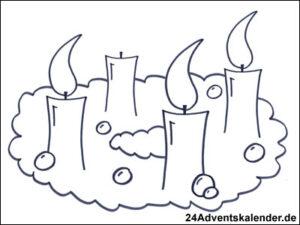 Vorschaubild Malvorlage Adventskranz 02 mit drei Kerzen