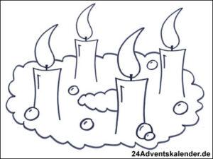 Vorschaubild Malvorlage Adventskranz 02 mit vier Kerzen