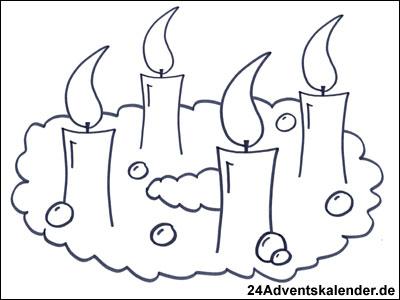 Vorschau Malbild Adventskranz mit Tannengrün und 4 brennenden Kerzen.