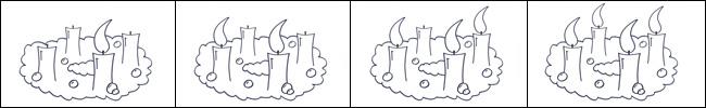 Bild - Ausmalvorlage - Kranz zu Advent mit vier Kerzen.