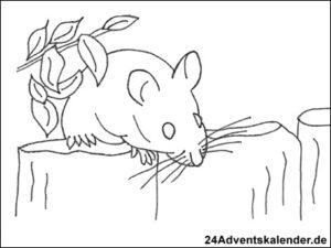 """Vorschau der Malvorlage """"Maus auf Holzpfosten"""" zum ausmalen"""
